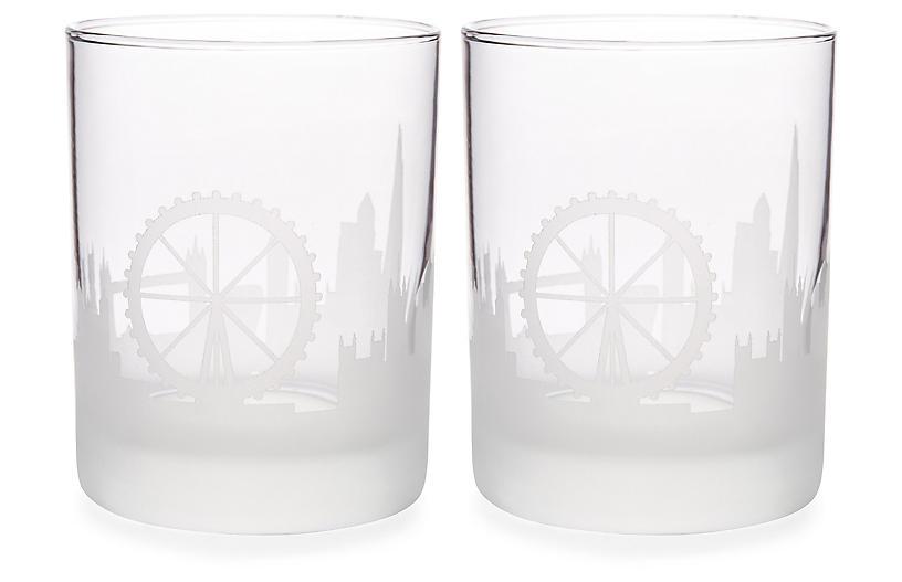 S/2 London Skyline DOF Glasses, Clear