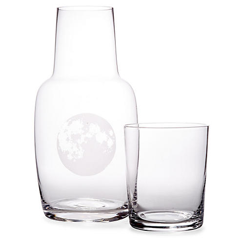 Asst. of 2 Full Moon Carafe & Glass, Clear