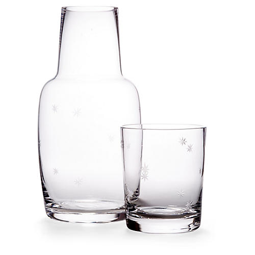 Asst. of 2 Starburst Carafe & Glass, Clear