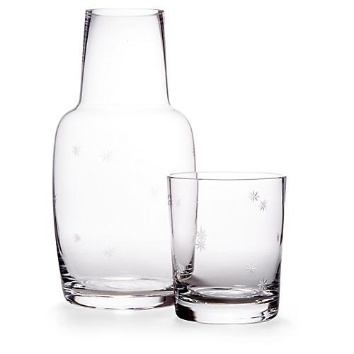 Asst. of 2 Starburst Carafe & Glass, Clear