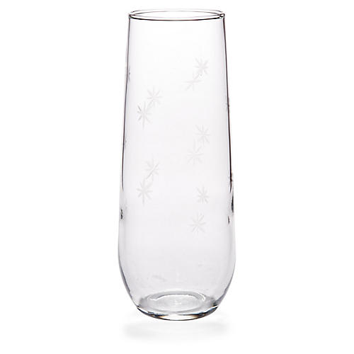 S/4 Starburst Stemless Champagne Flutes, Clear