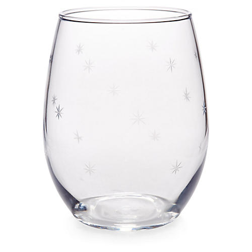 S/4 Starburst Stemless Wineglasses, Clear