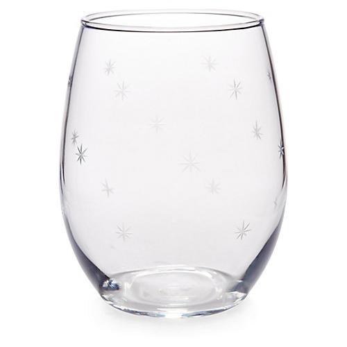 S/4 Starburst Stemless Wineglasses, Clear