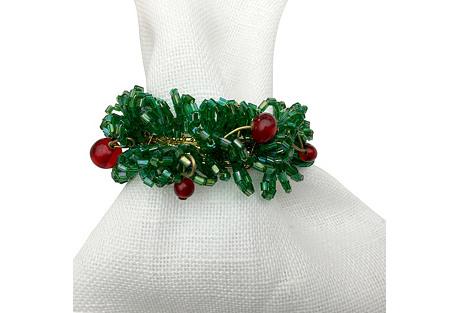 S/4 Cheerful Wreath Napkin Rings