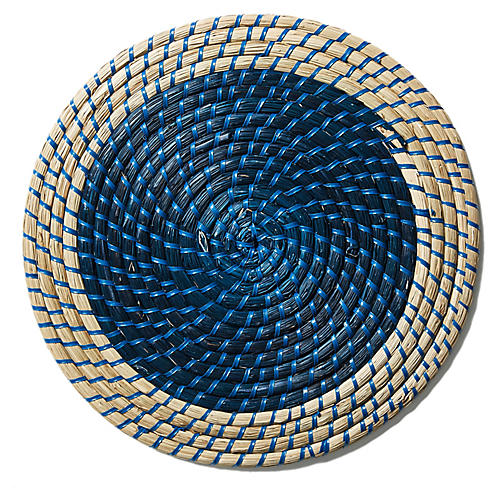 S/4 Archer Place Mats, Navy/Natural