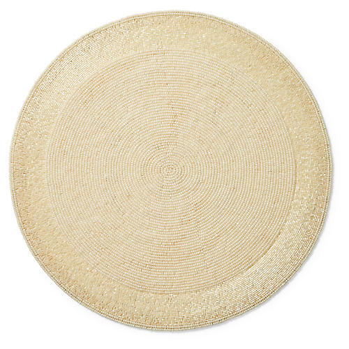 S/2 Long Bead Place Mats, Ivory