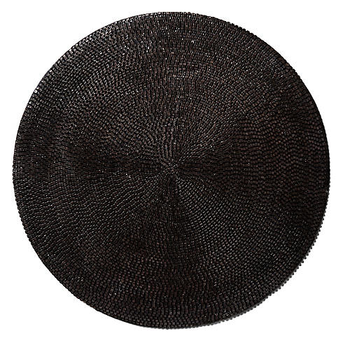 S/2 Beaded Place Mats, Charcoal