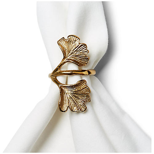 S/4 Twin Leaf Napkin Rings, Matte Gold