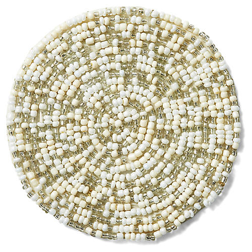 S/4 Mix Bead Coasters, Silver/White