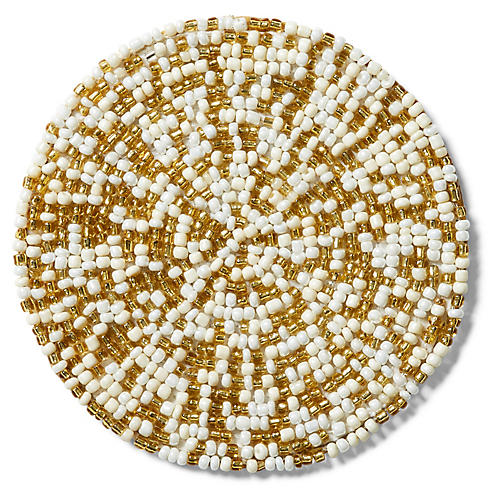 S/4 Mix Bead Coasters, Gold/White