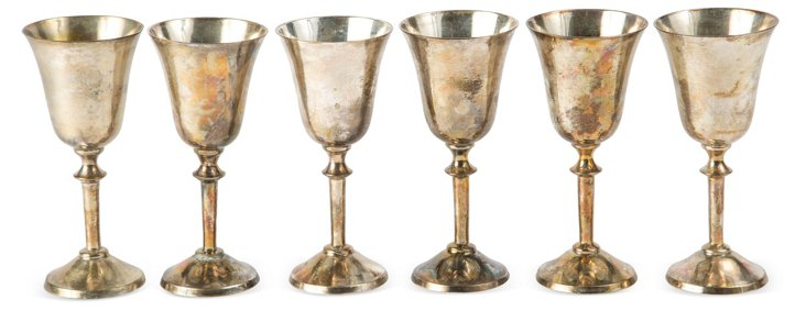 Petite Brass Goblets, Set of 6