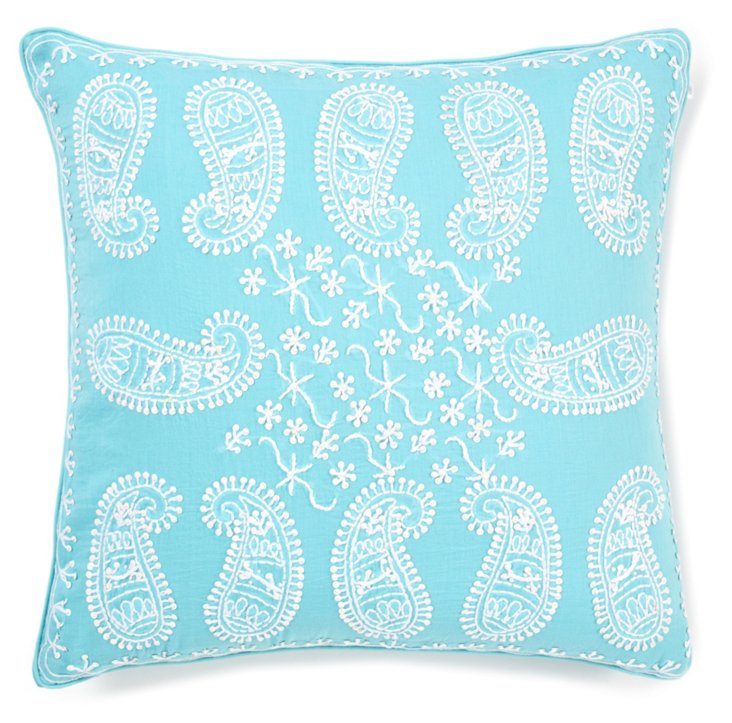 Anemone 16x16 Embroidered Pillow, Teal