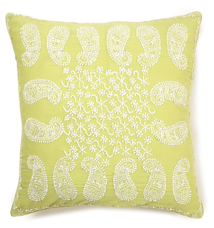 Anemone 20x20 Embroidered Pillow, Lime