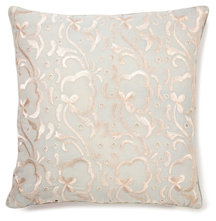 Freesia 20x20 Embroidered Pillow, Steel