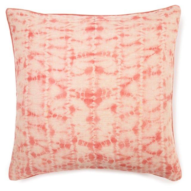 Shibori 24x24 Linen Pillow, Mango