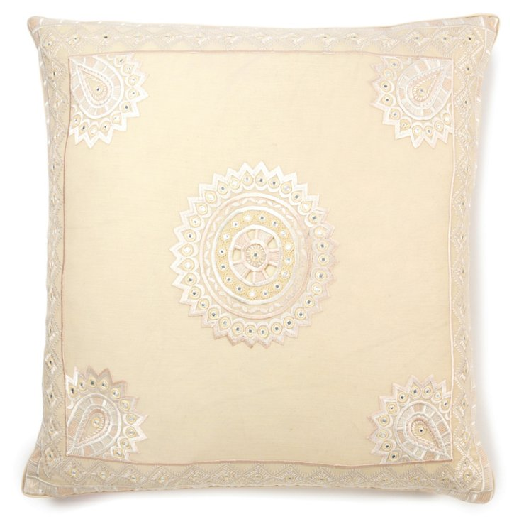 Stephan 24x24 Embroidered Pillow, Bisque
