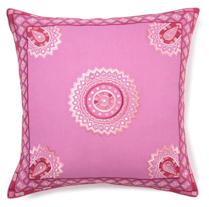 Stephan 24x24 Embroidered Pillow, Pink