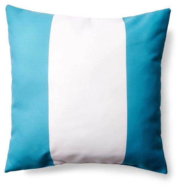 Stripe 20x20 Outdoor Pillow, Teal/White