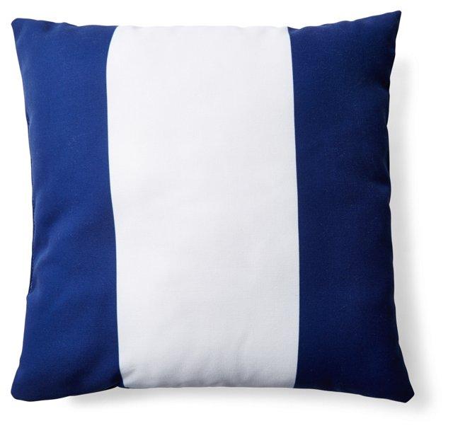Stripe 20x20 Outdoor Pillow, Navy