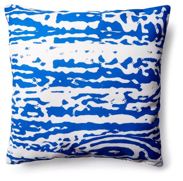 Faux Bois 20x20 Outdoor Pillow, Blue