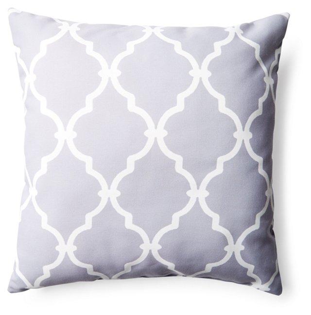 Lattice 20x20 Outdoor Pillow, Gray