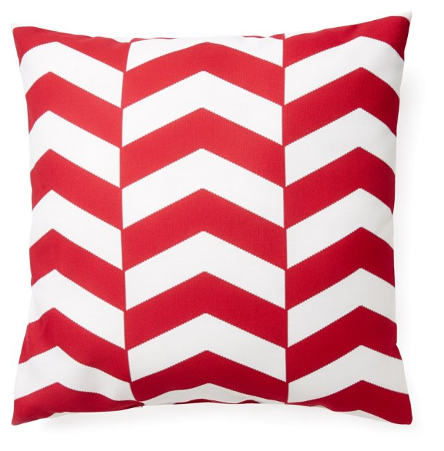 Chevron 20x20 Outdoor Pillow, Red