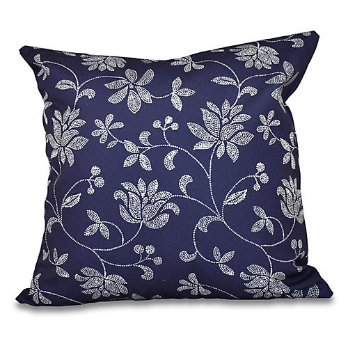 Floral Outdoor Pillow, Navy Blue