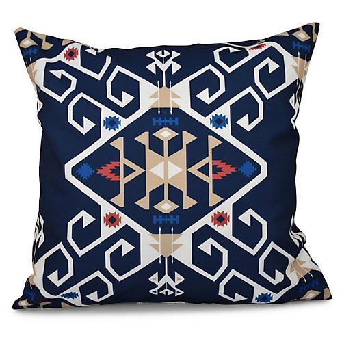 Jodhpur Medallion Outdoor Pillow, Navy