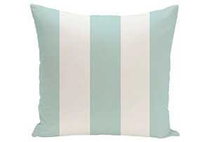 Awning-Stripe Outdoor Pillow, Teal