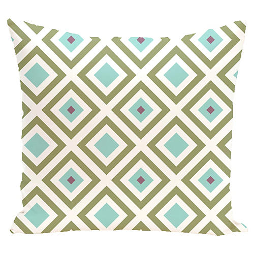 Diamond Outdoor Pillow, Aqua