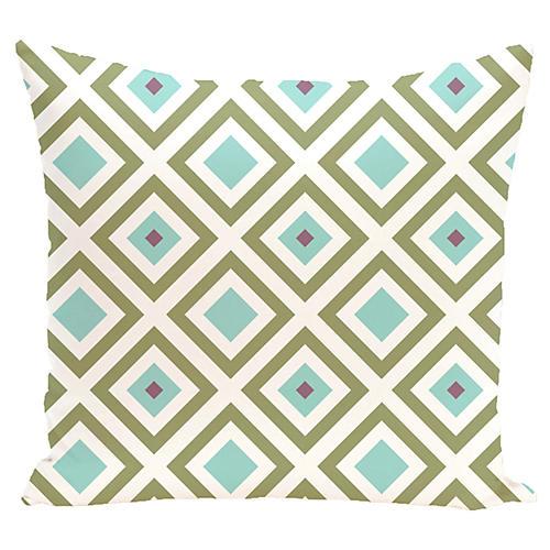 Diamond Outdoor Pillow, Aqua