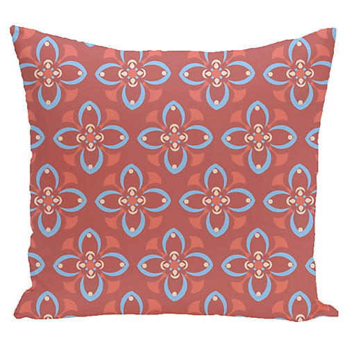 Flower Outdoor Pillow, Coral