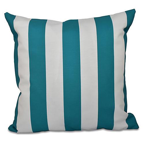 Awning-Stripe Pillow, Blue