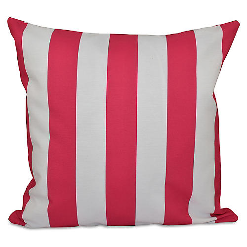 Stripe Outdoor Pillow, Fuchsia