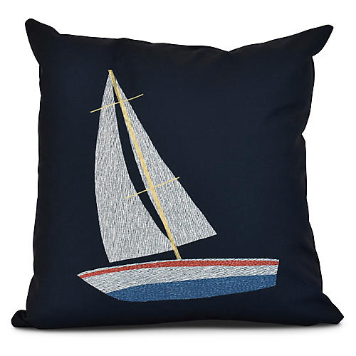 Set Sail Outdoor Pillow, Navy Blue
