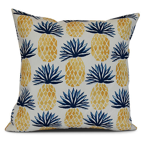 Pineapple Outdoor Pillow, Blue