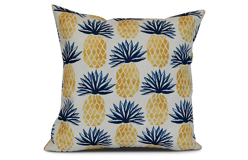 Pineapple Outdoor Pillow - Blue