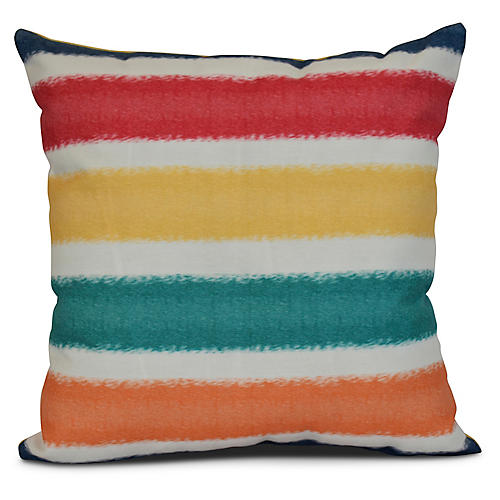 Striped Outdoor Pillow, Blue
