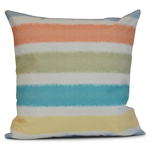 Striped Outdoor Pillow, Light Blue