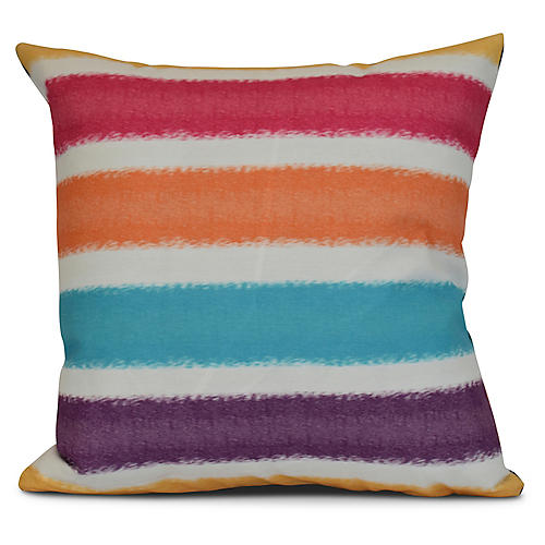 Striped Outdoor Pillow, Yellow