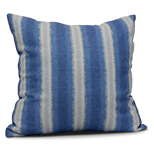 Sea Lines Outdoor Pillow, Blue