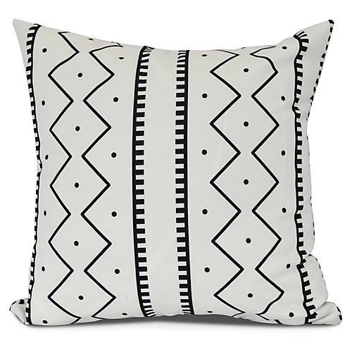 Stripe Geometric Outdoor Pillow, White