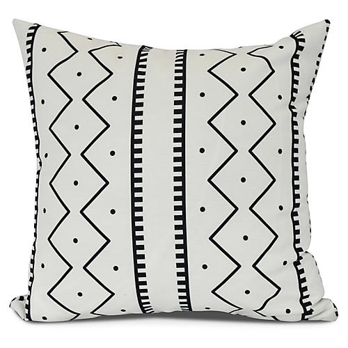 Simple Lines Outdoor Pillow, White
