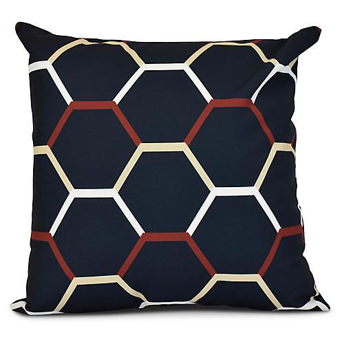 Bee's Nest Outdoor Pillow, Navy