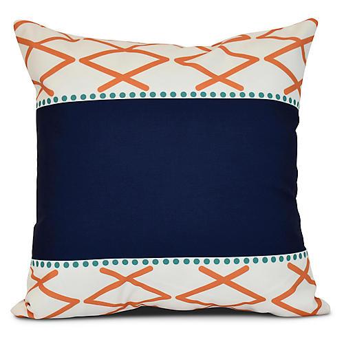 Chevron Dot Outdoor Pillow, Coral