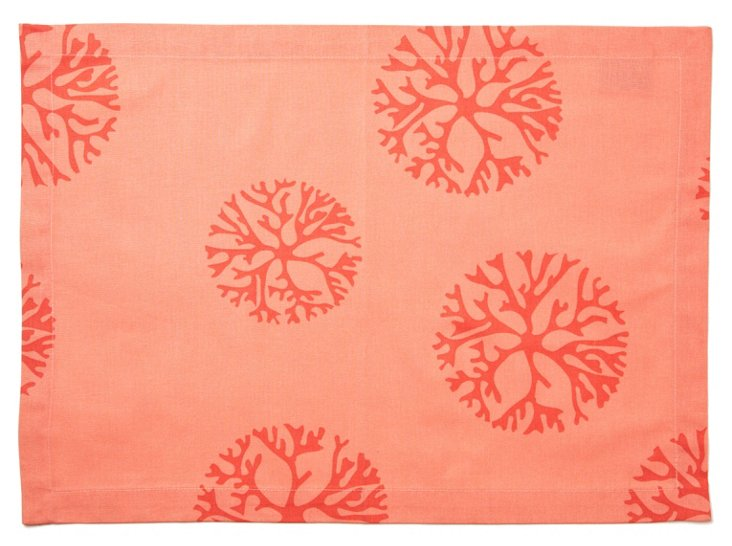 S/4 Coral Dots Place Mats, Coral