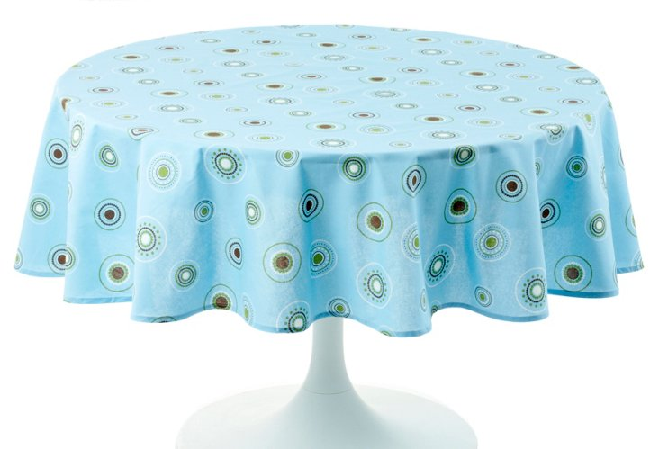 "Round Beaded Sky Tablecloth, 70"""