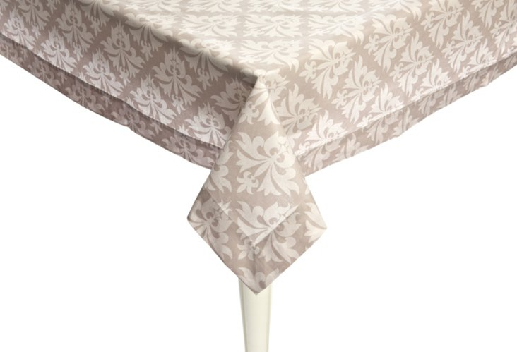 Grand Fleur Tablecloth Topper, Silver