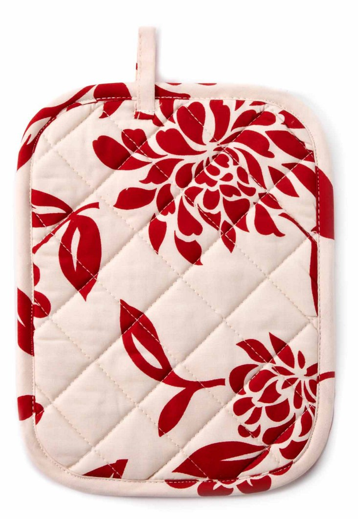 S/2 Jane's Mums Pot Holders, Scarlet