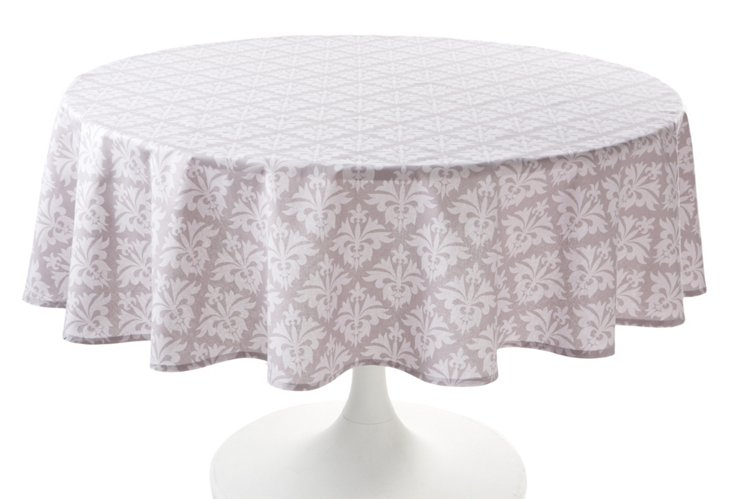 "70"" Round Grand Fleur Tablecloth, Silver"